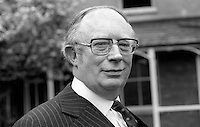 Tom O'Higgins, aka Thomas O'Higgins, candidate, presidential election, Republic of Ireland. He came within 1% of Éamon de Valera. He was at various times a barrister, judge, chief justice and a member of the European Court of Justice. 1973004000212a<br /> <br /> Copyright Image from Victor Patterson, 54 Dorchester Park, Belfast, UK, BT9 6RJ<br /> <br /> t1: +44 28 9066 1296 (from Rep of Ireland 048 9066 1296)<br /> t2: +44 28 9002 2446 (from Rep of Ireland 048 9002 2446)<br /> m: +44 7802 353836<br /> <br /> victorpattersonbelfast@gmail.com<br /> victorpatterson@me.com<br /> <br /> www.victorpatterson.com<br /> <br /> Please see my Terms and Conditions of Use at https://www.victorpatterson.com/page2<br /> It is IMPORTANT that you familiarise yourself with them.<br /> <br /> Images used on the Internet incur an additional cost and must be visibly watermarked i.e. © Victor Patterson within the body of the image and copyright metadata must not be deleted. Images used on the Internet have a size restriction of 4kbs and are chargeable at rates available at victorpatterson.com.<br /> <br /> This image is available only for the use of the download recipient i.e. television station, newspaper, magazine, book publisher, etc, and must not be passed on to any third party. It is also downloaded on condition that each and every usage is notified within 7 days to victorpatterson@me.com<br /> <br /> The right of Victor Patterson (or the named photographer) to be identified as the author is asserted in accordance with The Copyright Designs And Patents Act (1988). All moral rights are asserted.