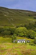 Quaint farm smallholding in rural mountain scene near Lochranza on Isle of Arran, Scotland