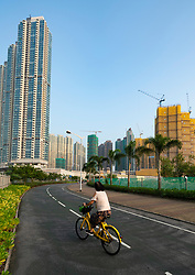 Cycle track  in LOHAS Park new housing estate in New Territories of Hong Kong, China.