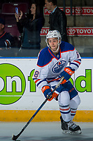 PENTICTON, CANADA - SEPTEMBER 9: Ethan Szypula #68 of Edmonton Oilers warms up against the Winnipeg Jets on September 9, 2017 at the South Okanagan Event Centre in Penticton, British Columbia, Canada.  (Photo by Marissa Baecker/Shoot the Breeze)  *** Local Caption ***