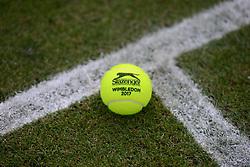 June 21, 2017 - Birmingham, England - A Slazenger Wimbledon 2017 tennis ball on a court at the Aegon Classic Birmingham tennis tournament. (Credit Image: © Christopher Levy via ZUMA Wire)