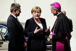 June 17, 2017 - Vatican City State (Holy See) - Chancellor ANGELA MERKEL arrives at the Vatican for the meeting with Pope Francis welcomed by GEORG GAENSWEIN at San Damaso courtyard at the Vatican  (Credit Image: © Evandro Inetti via ZUMA Wire)