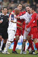 Photo: Paul Thomas.<br /> Bolton Wanderers v Liverpool. The Barclays Premiership.<br /> 02/01/2006.<br /> <br /> El Hadji Doiuf, Jamie Carragher have words to each other.