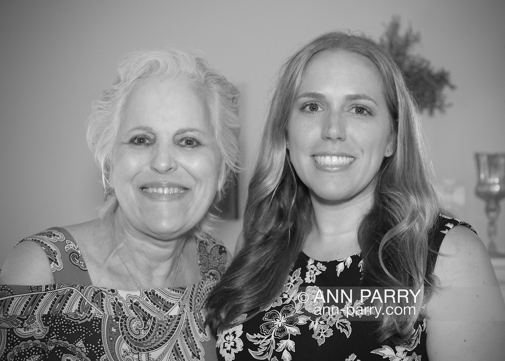 North Merrick, New York, USA. July 31, 2017. L-R, JOYCE CHINSKY and SUE MOLLER are at Fundraiser for candidate SUE MOLLER for Town of Hempstead Town Council, District 6, at home of supporters Steven and Beth Tappeto.