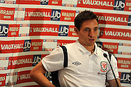 Joe Allen of Wales. Wales football players media session at St.Davids Hotel in Cardiff on Tuesday 4th Sept 2012, the Welsh players talk about their forthcoming World cup qualifier against Belgium on Friday 8th Sept.  pic by  Andrew Orchard, Andrew Orchard sports photography,