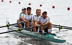 Germany's Felix Brummel, Nico Merget, Peter Kluge and Felix Drahotta in the Men's Fours during day one of the 2018 European Championships at the Strathclyde Country Park, North Lanarkshire