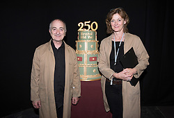 © Licensed to London News Pictures.29/05/2016. Bristol, UK.  Stars of the stage and screen, Sir TONY ROBINSON and PIPPA HAYWARD with a birthday cake at the Bristol Old Vic in King Street as the theatre celebrates its 250th birthday on 30 May 2016 as the oldest continuously working theatre in the English speaking world. Following a recent £12.5 million redevelopment project, the Bristol Old Vic is now one of the most modern and comfortable theatres with state of the art rehearsal rooms, a dramatically extended forestage and precision-engineered sightlines giving audiences an even more intimate theatrical experience. Photo credit : Simon Chapman/LNP
