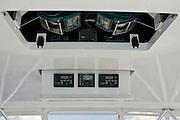 Viking boat overhead hardtop elelctronics panel and resessed teaser reel locker.