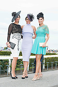 28/07/2014 Galway girls Denise Manning, Daniella and Sophie Small at the first evening of the Galway Summer Racing Festival at Ballybrit in Galway City. Photo:Andrew Downes