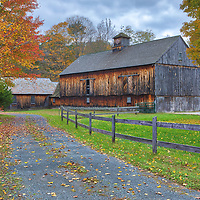 Rustic barn along Massachusetts Route 2 in the Berkshires of Western Mass. The fall foliage colors and this farm setting immediately inspired me to stop on my way the Bissell Covered Bridge. An overcast beautifully balanced the light and hues and provided superb photography condition. <br />
