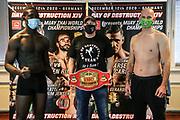 "Muay Thai / K1: Day of Destruction XIV, Wiegen, Hamburg, 11.12.2020<br /> v.l: Gerardo ""Coco"" Atti (GER), Promoter Ralf Stege und Kim Jensen (DEN)<br /> © Torsten Helmke"