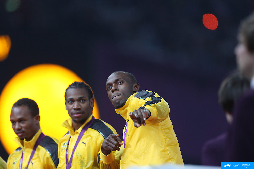 Usain Bolt, Jamaica, celebrates Jamaica's Men's 4 x 100m relay team winning the Gold Medal in World Record time at the Olympic Stadium, Olympic Park, during the London 2012 Olympic games. London, UK. 11th August 2012. Photo Tim Clayton