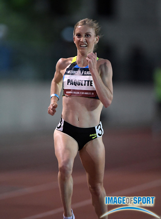 May 17, 2018; Los Angeles, CA, USA; Lauren Paquette wins the women's 5,000m in 15:19.17 during the USATF Distance Classic at Occidental College.