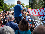 27 MAY 2019 - URBANDALE, IOWA: US Senator CORY BOOKER (D-NJ) speaks to a crowd of about 300 people during a Memorial Day barbecue he hosted at his Iowa campaign headquarters. Sen. Booker is running to be the Democratic nominee for the US Presidency. Iowa traditionally hosts the the first selection event of the presidential election cycle. The Iowa Caucuses will be on Feb. 3, 2020.                    PHOTO BY JACK KURTZ