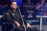 Mark Selby looks on as Jack Lisowski builds another break  during the first session of  the World Snooker 19.com Scottish Open Final Mark Selby vs Jack Lisowski at the Emirates Arena, Glasgow, Scotland on 15 December 2019.