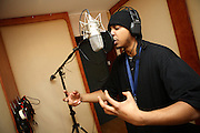 Iron Braydz, 26, is recording for Blind Alphabetz's new album in a studio in Angel, London, England, on Monday, Feb. 12, 2007. Islamic Hip Hop artists like the duo 'Blind Alphabetz', from London, feel more than ever the need to say what they think aloud. In the music industry the backlash of a disputable Western foreign policy towards Islamic countries and its people is strong. The number of artists in the European Union and the US taking this into consideration and addressing the current social and political problems within their lyrics is growing rapidly and fostering awareness for Muslim and others alike.