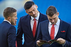 CARDIFF, WALES - Friday, September 6, 2019: Wales Will Vaulks, Kieffer Moore and Sam Vokes on the pitch before the UEFA Euro 2020 Qualifying Group E match between Wales and Azerbaijan at the Cardiff City Stadium. (Pic by Paul Greenwood/Propaganda)