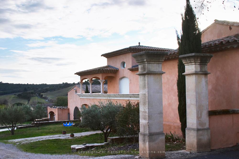 Chateau des Estanilles. In Lentheric village. Faugeres. Languedoc. The main building. France. Europe.
