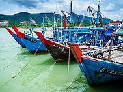 23 AUGUST 2018 - TELUK BAHANG, PENANG, MALAYSIA: Commercial fishing trawlers in port in Teluk Bahang on the island of Penang. Fishermen on Penang, an island off the west coast of mainland Malaysia, are being pressured by the island's resort development and reduce catches in the waters off Malaysia.     PHOTO BY JACK KURTZ