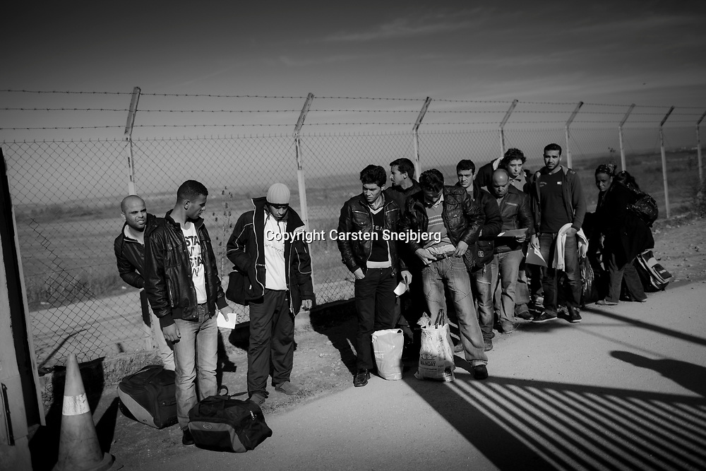 Immigrants are released from the Fylakio Detention Center in the Evros region of Greece. Human Rights Watch said in a report in Dec. 2010 that detention centers in northern Greece violate international law. Women and children are forced to share crowded cells with men, and are forced to live in unsanitary conditions with inadequate and unusable toilet facilities.