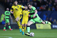 Forest Green Rovers Paul Digby(20) shoots at goal saved by Oxford United's goalkeeper Simon Eastwood(1) during the The FA Cup 1st round match between Oxford United and Forest Green Rovers at the Kassam Stadium, Oxford, England on 10 November 2018.