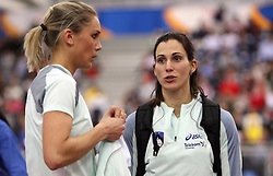 Slovenian triple  jump athletes Snezana Rodic and Marija Sestak in the Qualification when she qualified for finals at the 1st day of  European Athletics Indoor Championships Torino 2009 (6th - 8th March), at Oval Lingotto Stadium,  Torino, Italy, on March 6, 2009. (Photo by Vid Ponikvar / Sportida)