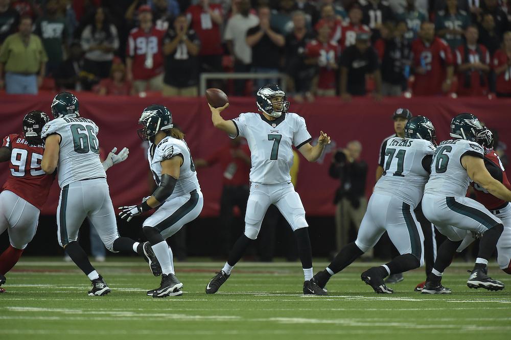 Sam Bradford #7 of the Philadelphia Eagles against the Atlanta Falcons at Georgia Dome on September 14, 2015 in Atlanta, Georgia. The Falcons won 26-24. (Photo by Drew Hallowell/Philadelphia Eagles)