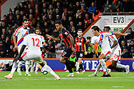 Joshua King (17) of AFC Bournemouth surrounded by Crystal Palace players during the Premier League match between Bournemouth and Crystal Palace at the Vitality Stadium, Bournemouth, England on 1 October 2018.