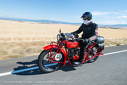 Jim Petty riding his 1927 Indian Chief during Stage 14 - (284 miles) of the Motorcycle Cannonball Cross-Country Endurance Run, which on this day ran from Meridian to Lewiston, Idaho, USA. Friday, September 19, 2014.  Photography ©2014 Michael Lichter.