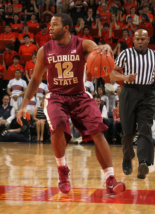 Florida State Seminoles guard Jeff Peterson (12) handles the ball during the game against Virginia in Charlottesville, Va.  Florida State defeated Virginia 63-60.