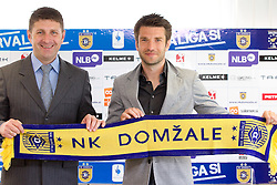 Stevan Mojsilovic of Serbia at introduction as a new coach of NK Domzale and Luka Elsner of Slovenia when decided to finish his football career and become assistant coach, on April 1, 2012, in Domzale, Slovenia. (Photo by Vid Ponikvar / Sportida.com)