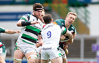 Rugby Union - 2020 / 2021 ER Challenge Cup - Quarter-Final - Leicester Tigers  vs Newcastle Falcons - Welford Road<br /> <br /> Harry Potter of Leicester Tigers is tackled by Michael Young of Newcastle Falcons and Callum Chick of Newcastle Falcons<br /> <br /> Credit : COLORSPORT/BRUCE WHITE