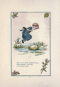 Here am I, little jumping Joan  When nobody's with me, I'm always alone. from the book Mother Goose : or, The old nursery rhymes by Kate Greenaway, Engraved and Printed by Edmund Evans published in 1881 by George Routledge and Sons London nad New York