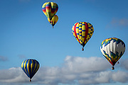 Balloons soar in the air at the AARP Block Party at the Albuquerque International Balloon Fiesta in Albuquerque New Mexico USA on Oct. 8th, 2018.