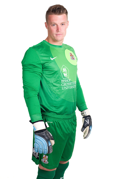 Lincoln City goalkeeper Paul Farman poses for photographs as part of Lincoln City's 2013/14 kit launch<br /> <br />  (Photo by Chris Vaughan/CameraSport) <br /> <br /> Commercial - Lincoln City Kit Launch - Monday 29th July 2013 - Sincil Bank - Lincoln<br /> <br /> © CameraSport - 43 Linden Ave. Countesthorpe. Leicester. England. LE8 5PG - Tel: +44 (0) 116 277 4147 - admin@camerasport.com - www.camerasport.com