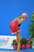 Assymova Aliya during qualifying at ball in Pesaro World Cup 10 April 2015.<br /> Aliya was born 16 December 1997 in Astana, Kazakhstan. She is a Kazakhstani individual rhythmic gymnast.