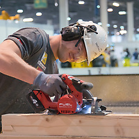 Participant competes in wood working during the EuroSkills European Championship of young professionals in Budapest, Hungary on Sept. 26, 2018. ATTILA VOLGYI