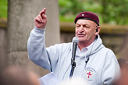 A speaker addresses the EDL members and supporters in All Saints Square near Rotherham Minster during Saturdays  EDL rally in South Yorkshire  in Rotherham Town Centre <br /> <br /> May 10 2014<br /> Image © Paul David Drabble <br /> www.pauldaviddrabble.co.uk