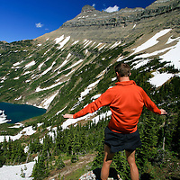 Matt Aronson tests the wind wind crushing through the defile that is Stoney Indian Pass in the wild heart of Glacier National Park
