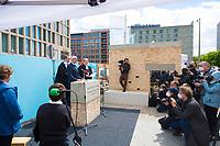 """DEU, Deutschland, Germany, Berlin, 27.05.2021: Gemeinsame Grundsteinlegung von Juden, Christen und Muslimen für die interreligiöse Begegnungsstätte """"House of One – Bet- und Lehrhaus Berlin""""."""