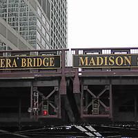 USA, Illinois, Chicago. Lyric Opera Bridge, Chicago River cruise.