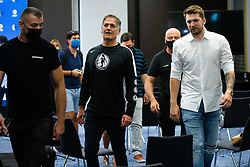 Mark Cuban and Luka Doncic during Dallas Mavericks Press Conference to formalise the deal with Luka Doncic, 10 August, 2021, Intercontinental Hotel, Ljubljana, Slovenia. Photo by Grega Valancic