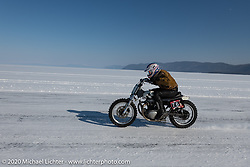 Moscow photographer Aleksei Kalabin racing down the ice track on his Kawasaki w650 racer at the Baikal Mile Ice Speed Festival. Maksimiha, Siberia, Russia. Friday, February 28, 2020. Photography ©2020 Michael Lichter.
