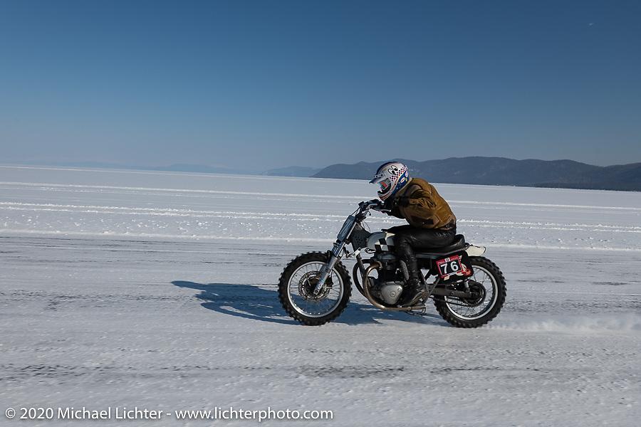 Moscow photographer Aleksei Kalabin racing down the ice track on his Kawasaki w650 racer at the Baikal Mile Ice Speed Festival. Maksimiha, Siberia, Russia. Friday, February 28, 2020. Photography ©2020 Michael Lichter.