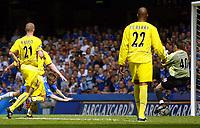 Photo. Andrew Unwin, Digitalsport<br /> NORWAY ONLY<br /> <br /> Chelsea v Leeds United. FA Barclaycard Premiership. 15/05/2004.<br /> Jesper Grønkjær heads in past  Scott Carson to open the scoring for Chelsea