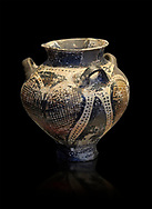 Small Mycenaean amphora decorated with large ivy leaves, Grave VI, Grave Circle A, Mycenae 16-15 Cent BC. National Archaeological Museum Athens. Cat No 192.  Black Background .<br /> <br /> If you prefer to buy from our ALAMY PHOTO LIBRARY  Collection visit : https://www.alamy.com/portfolio/paul-williams-funkystock/mycenaean-art-artefacts.html . Type -   Athens    - into the LOWER SEARCH WITHIN GALLERY box. Refine search by adding background colour, place, museum etc<br /> <br /> Visit our MYCENAEN ART PHOTO COLLECTIONS for more photos to download  as wall art prints https://funkystock.photoshelter.com/gallery-collection/Pictures-Images-of-Ancient-Mycenaean-Art-Artefacts-Archaeology-Sites/C0000xRC5WLQcbhQ