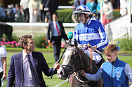 SHINE SO BRIGHT (9) ridden by James Doyle and trained by Andrew Balding enter the Winners Enclosure after winning The Group 2 Sky Bet City Of York Stakes over 7f (£225,000)  during the Ebor Festival at York Racecourse, York, United Kingdom on 24 August 2019.