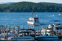 The Sophie C mail boat at the Lakeside Avenue pier in Weirs Beach during Laconia Motorcycle Week. NH, USA. Saturday, June 16, 2018. Photography ©2018 Michael Lichter.
