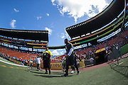January 31 2016: Team Irvin Michael Bennett goes out to warm up before the Pro Bowl at Aloha Stadium on Oahu, HI. (Photo by Aric Becker/Icon Sportswire)