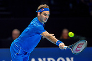 Roger Federer of Switzerland with backhand return during the Nitto ATP World Tour Finals at the O2 Arena, London, United Kingdom on 11 November 2018. Photo by Martin Cole